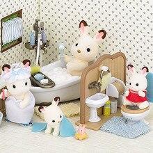 Bos Familie Villa 1:12 Cijfers Meubels Miniatuur Diy Poppenhuis Kids Badkamer Sets Rollenspel Cadeaus Voor Meisjes Collectible Speelgoed