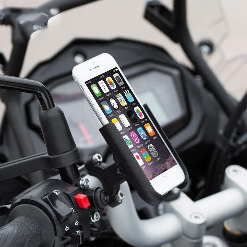 1 X Universal Motorcycle ATV Handlebar Mount Phone Holder Support Black Aluminum