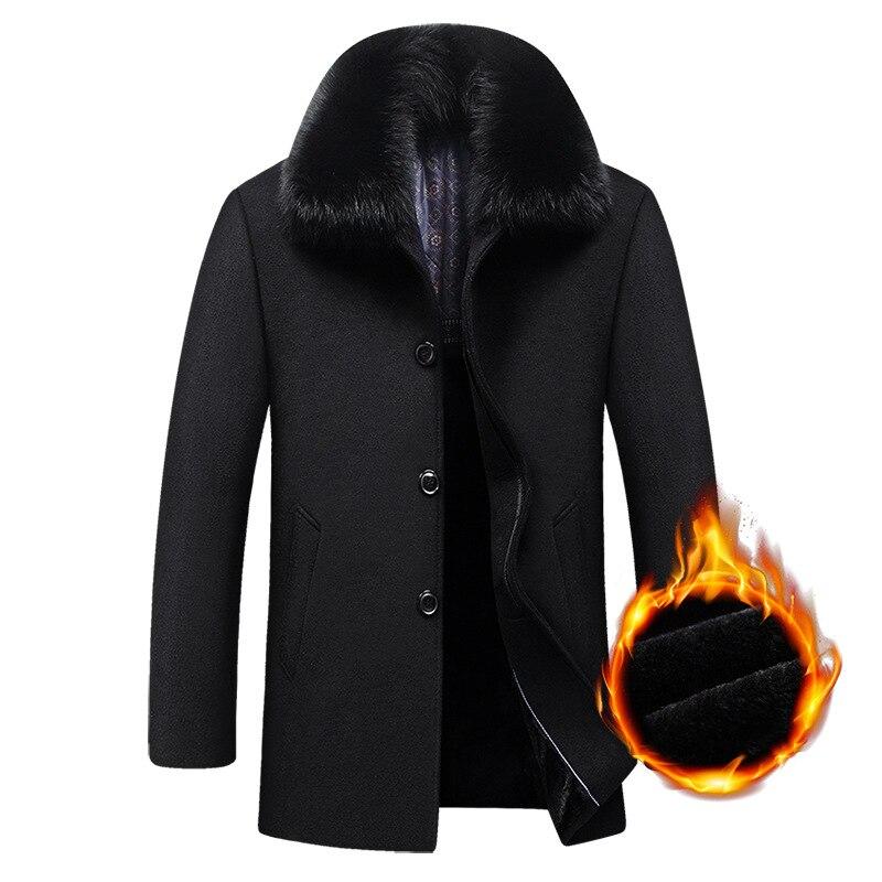 Long Coat Winter Woolen Men Fleece Thick Detachable Large Fur Collar Wool Coat Autumn Windbreaker Casual Jacket Mens Clothing