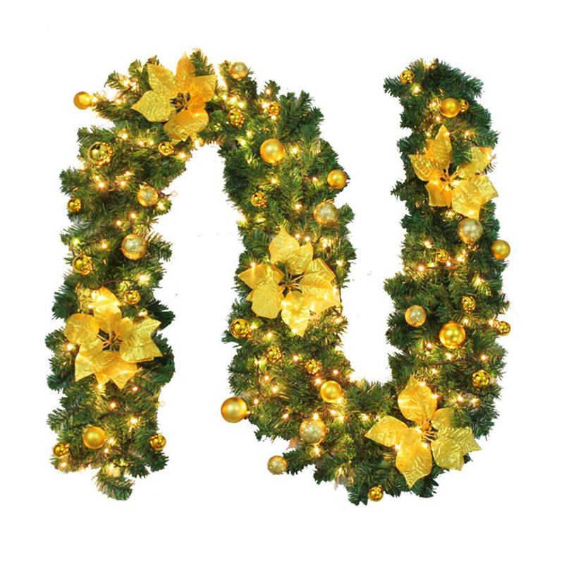 2.7M Decorated Garland Illuminated with Lights Christmas Decoration Xmas Garland for Fireplace Stairs Gold Baubles Flowers Xmas