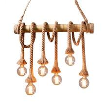 Vintage cuerda de bambú colgante luces personalidad desván luces cáñamo cuerda madera lámpara para cocina Café Bar Decoración