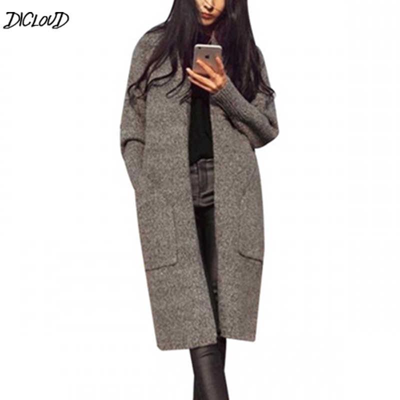 2019 סתיו החורף ארוך קרדיגן נשים אופנה מוצק Loose לסרוג סוודר קוריאני כיסי V-צוואר מקרית חולצות ג 'רזי Mujer