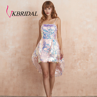VKBRIDAL Pink Paillette High Low Prom Cocktail Dress 2019 New 100% Real Picture Sequin Skirt Homecoming Dresses for Girls