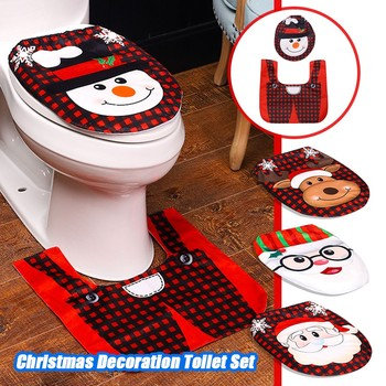 Christmas Toilet Decoration Santa Claus Bathroom Mat Christmas Toilet Seat & Cover Christmas Toilet Lid New Year Xmas Decoration