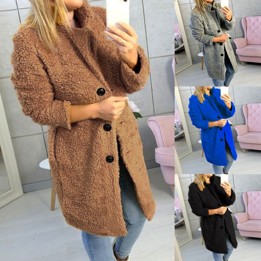 HEFLASHOR Women's Plush coat autumn winter Women Button Jacket Casual Warm turndown collar fur Outwear Mid-Length Woolen jackets 5