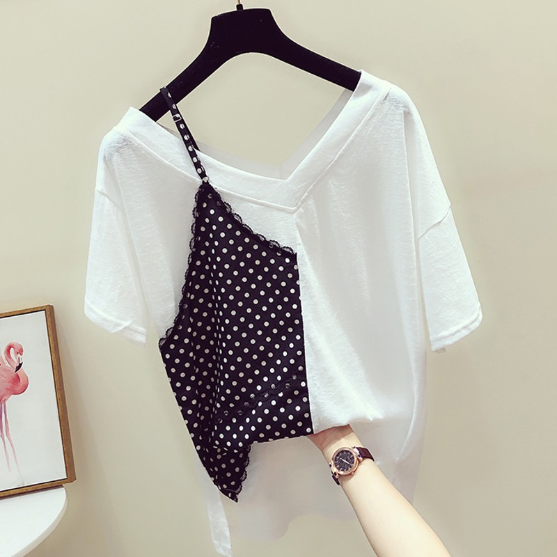 Polka Dot Camis T-shirt Women's 2020 Spring And Summer New Style Fashion V-neck Short Sleeve Pure Cotton Tops T Shirt Tees