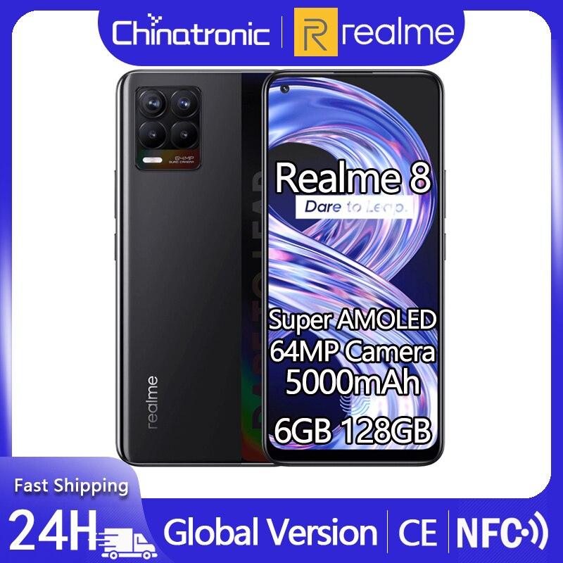 Глобальный realme 8 6 ГБ 128 мобильный телефон 64-мегапиксельная четырехъядерная камера 5000 мА/ч, 30 Вт Быстрый Зарядное устройство 6,4