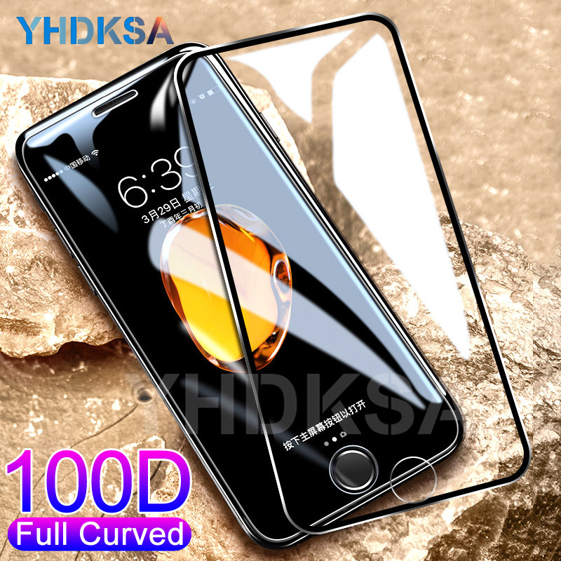 100D Curved Protective Tempered Glass on the For iPhone 6 6s 7 8 Plus Glass Screen Protector For iPhone X XR XS 11 Pro Max Film