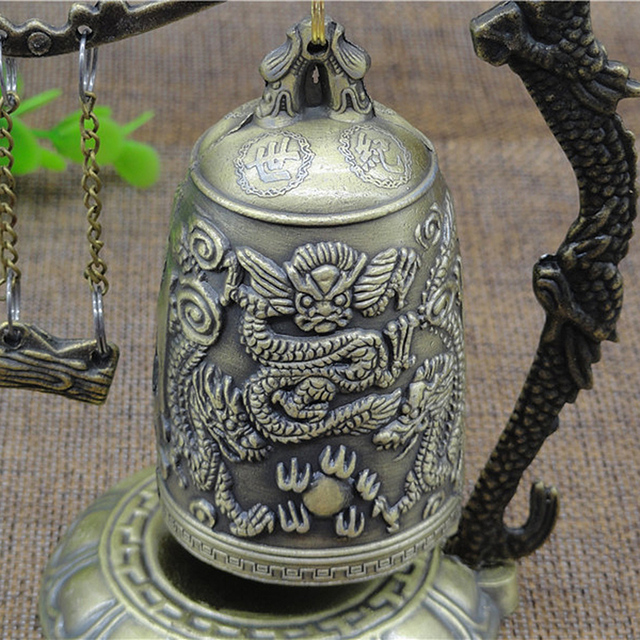 New Metal Bell Carved Dragon Buddhist Clock Good Luck Feng Shui Ornament Home Decoration Figurines 4