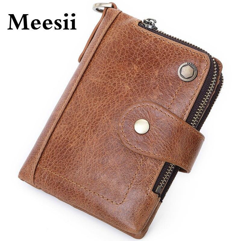 Короткий кошелек Meesii с отделением для монет и паспорта, мужской кошелек из искусственной кожи, кошелек из натуральной кожи с блокировкой