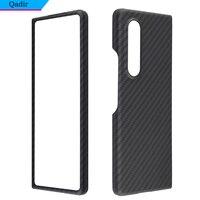 QADIR de fibra de carbono real caso para Samsung Galaxy Z Fold3 caso fibra de aramida Ultra-delgada anti-caída plegado Z 3 cubierta del teléfono