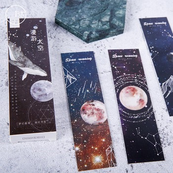 30pcs/box Dream Space Constellation Paper Bookmark Stationery Bookmarks Book Holder Message Card School Supplies Papelaria dream box