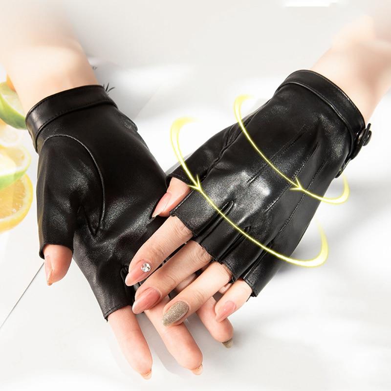 Wholesale New 2021 Women's Half Finger Real Leather Gloves Pure Sheepskin Black White Red Gray Fingerless Women's Gloves