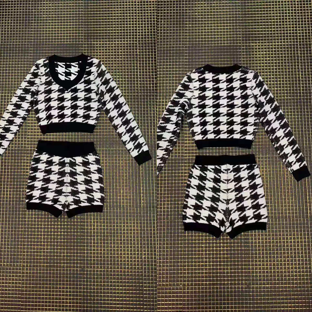Autumn Long Sleeve 2 Pieces Set Short Pants and Top Women Black White Plaid Bodycon Sexy Club Party Jumpsuits Slim Playsuit - 2