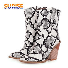 Women Western Ankle Boots Black White Yellow Faux Snakeskin Pointed Toe High Block Heels Winter Plush Ladies Cowgirl Short Boots(China)