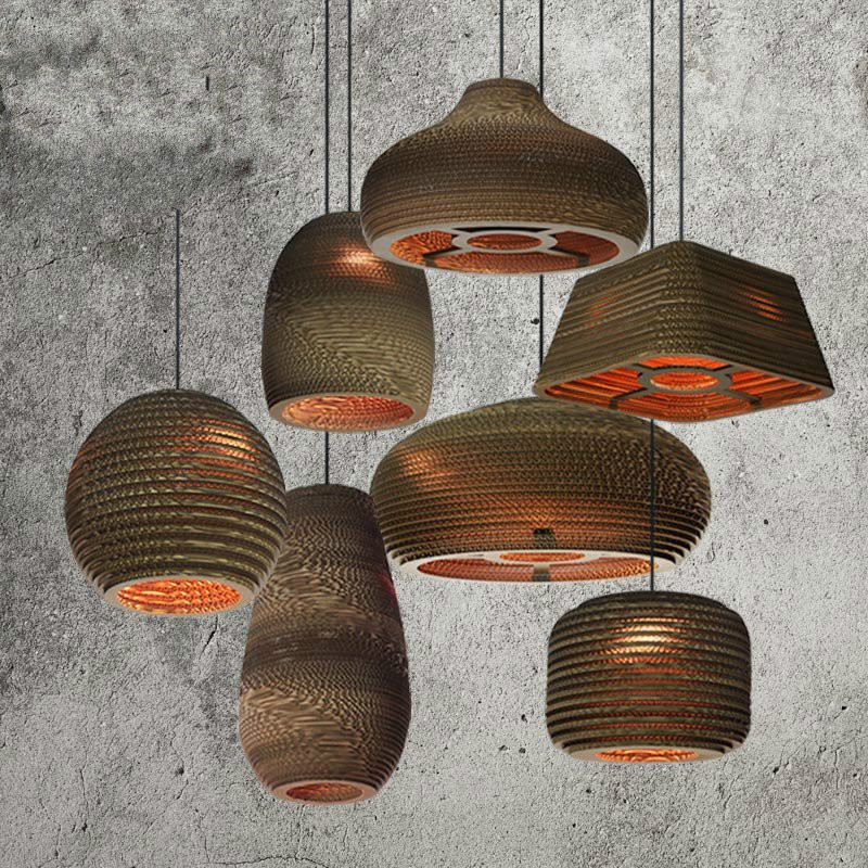 Retro Bar Chandelier Lights American Nude Pupa Lustre Pendant Lamp Cafe Nordic Creative Paper Honeycomb Lamp Industriel Lighting