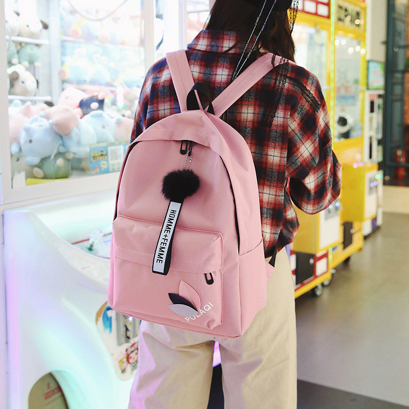 4PCS Women Lace Bow Bundle Schoolbag College High Student Backpack Black Bag SH