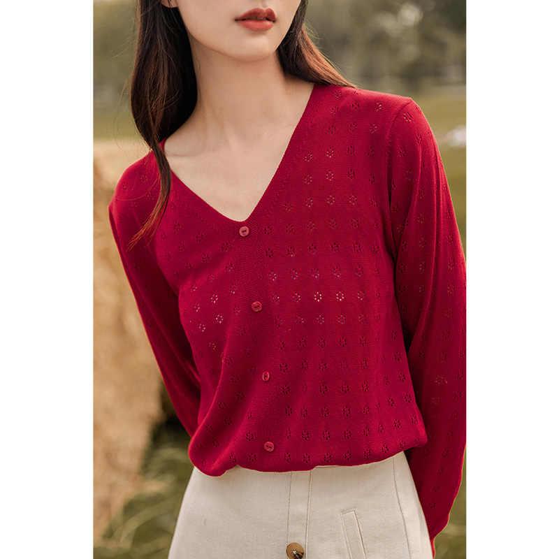 INMAN 2020ฤดูใบไม้ร่วงใหม่มาถึงRetroบางHollow-Out Pulloverเสื้อกันหนาวแขนยาวFloret Tieเครื่องปรับอากาศเสื้อ