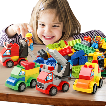 53-60pcs DIY City Police Big Size Cars Building Blocks Compatible Duploed Educational Bricks Toys For Children Gift Large Blocks balody mini blocks big size mario diy building toys large one piece bricks cute auction juguetes for kids toys 16001 16009