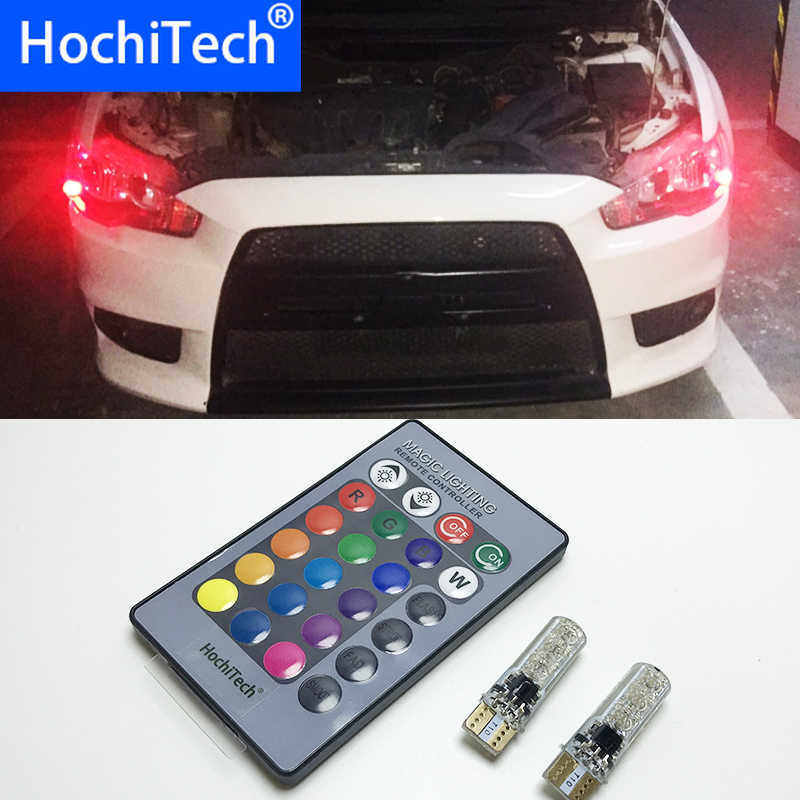 2 stuks T10 W5W LED Auto Verlichting LED Lampen RGB Met Afstandsbediening 194 168 501 Strobe Led Lamp Reading verlichting Wit Rood Amber 12V