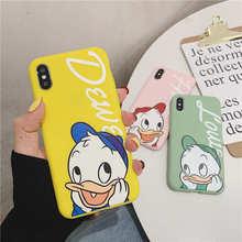 купить Cute Cartoon Donald Duck Case for iPhone X XR Xs Max 8 7 6 6s Plus Case Thin Slim Matte Soft Silicone Cover Cases Cover Coque дешево