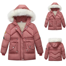 2019 Zipper Girls Winter Coat Pink Jacket Kids Girl Warm Wrap fleece Overalls For 4-7 Years Fluffy Hat D25