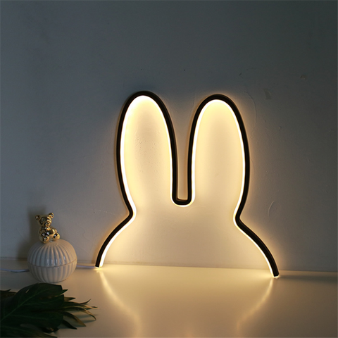 coelho led night light bonito lampada de parede quarto lampara casa decorativa lampada carregamento usb