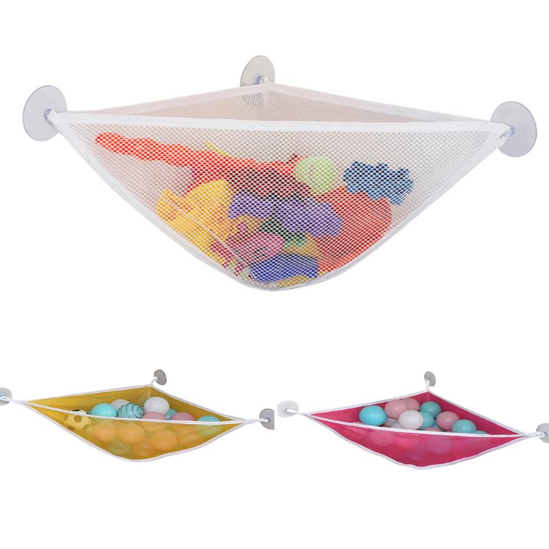 Home Bathroom Triangle Support Holder Mesh Cloth Drain Bag Multi-function Children Toy Storage Bags