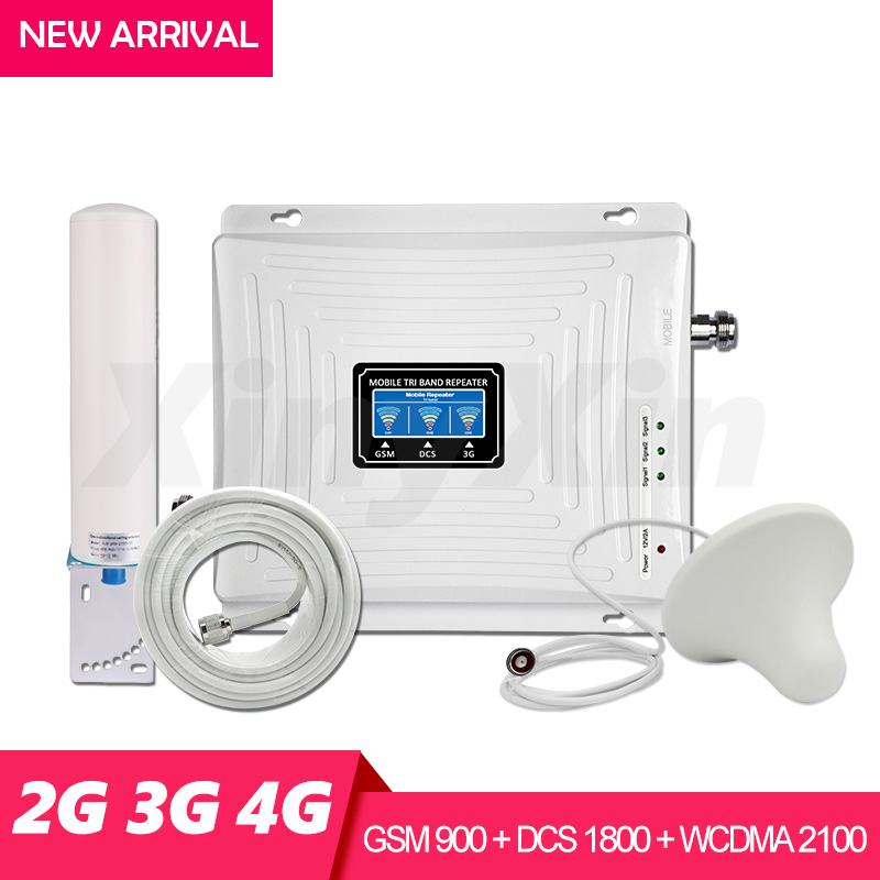 Amplificateur de Signal cellulaire 4g amplificateur de Signal 900 1800 2100 répéteur GSM 2g 3g 4g amplificateur Tri bande ensemble d'antenne omnidirectionnelle