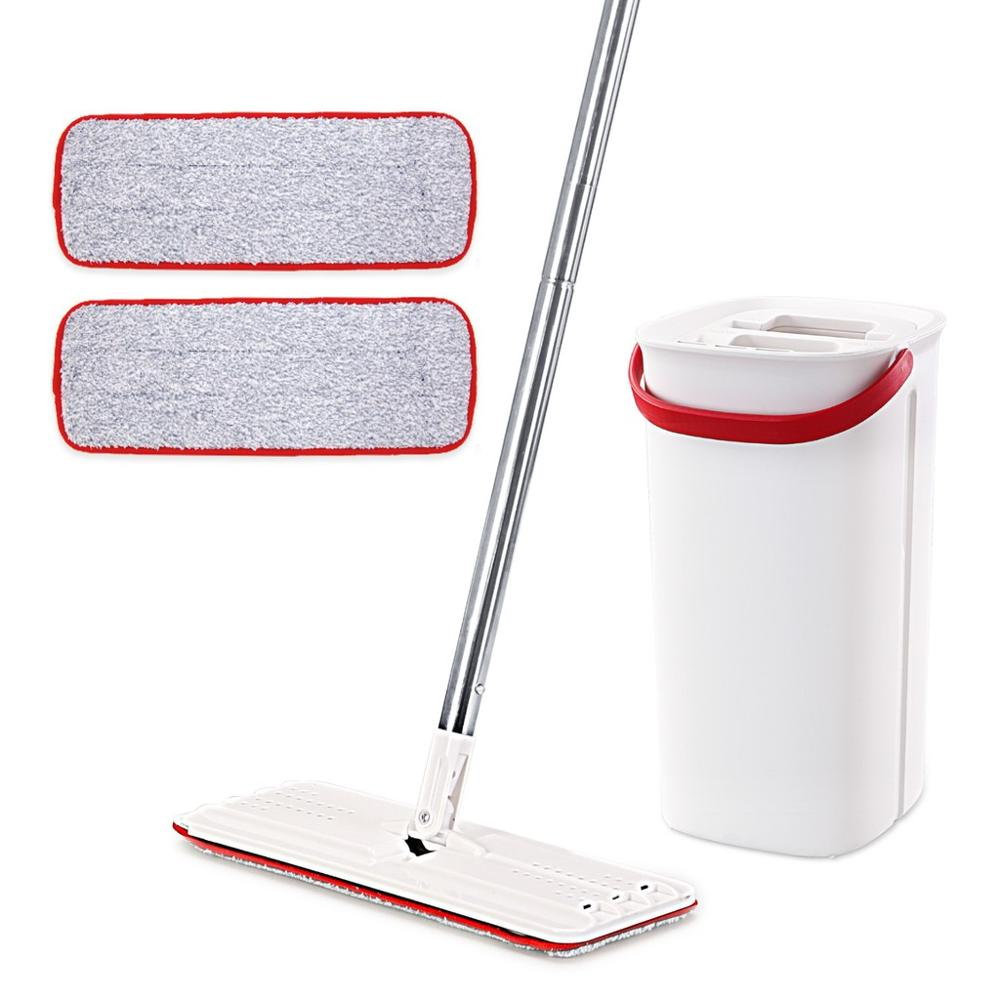 Cleanhome Flat Squeeze Mop and Bucket with Hand Washing Microfiber Free 2 Mop Cleaning Cloth Kitchen Wooden Floor Lazy Floor Mop