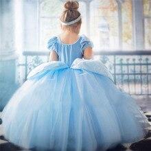 Платье Золушки для девочек; Подарок на день рождения платье принцессы до фантазийный маскарадный костюм на Хеллоуин; Платье Формальные Веч...
