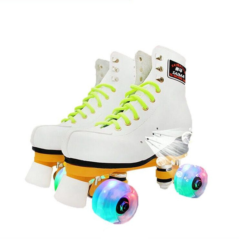 Roller Skates Sport Skating Shoes Double Line Skates Woman Man Adult White Roller Shoes With 4 Pu Flash Wheels Patines