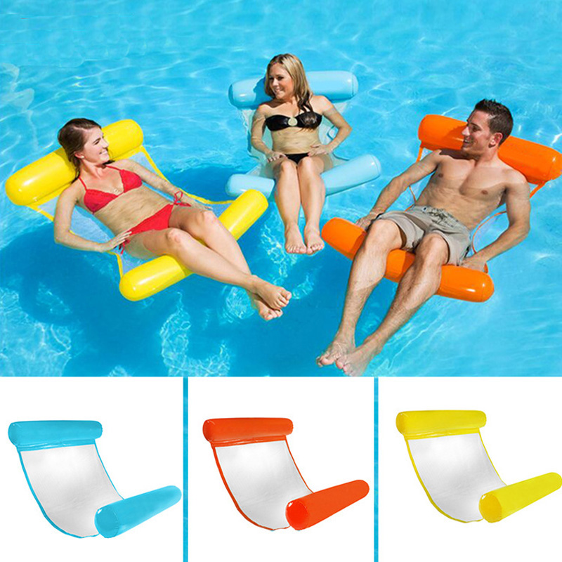 Water Hammock Recliner Inflatable Floating Bed + Pump Swimming Pool Floating Swimming Mattress Sea Swimming Ring For Party