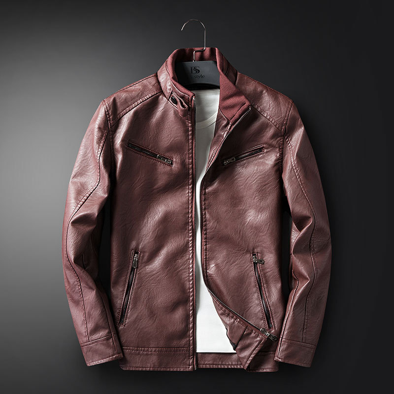 Spring And Autumn New Style Men Stand Collar Japanese-style Popular Brand Slim Fit PU Leather Coat Casual Versatile Locomotive L