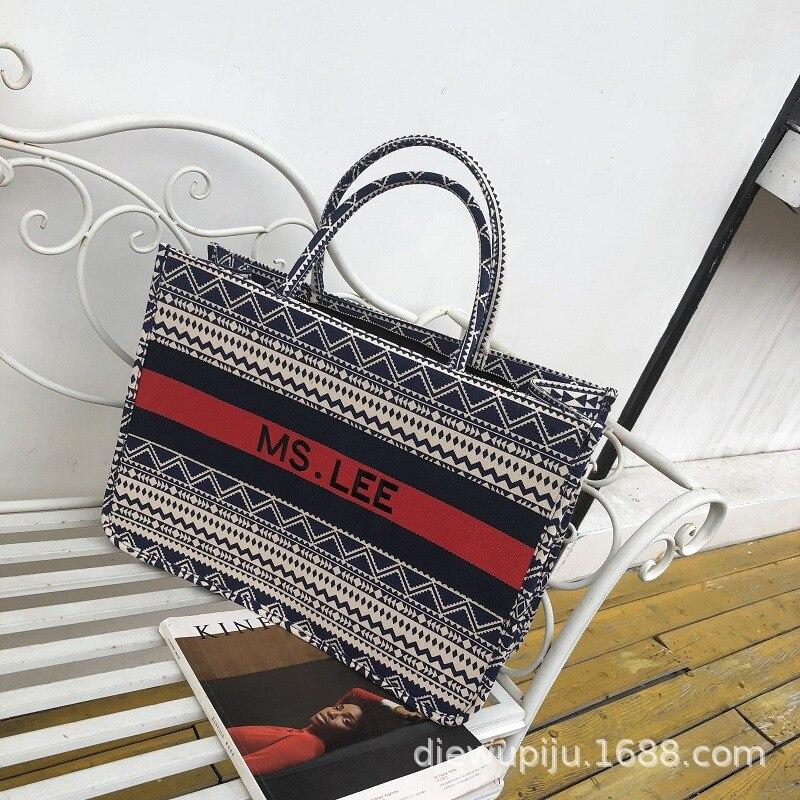 Baggage Girl 2019 New Stripe Printed Canvas Large Bag, Large Capacity Single Shoulder Bag, Hand-held Special Bag And Leisure Bag