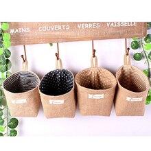 Mini Cotton Linen Storage Bag Kids Toy Basket Sundries Organizer Door Wall Hanging Pocket Pouch Makeup Cosmetic Holder