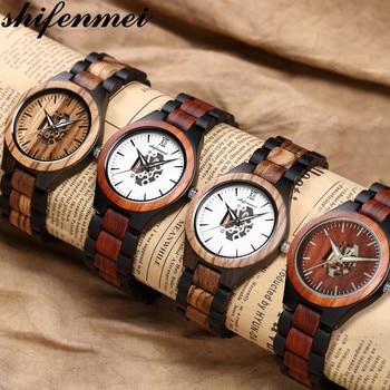 Shifenmei Wood Watch Mens Watches Top Brand Luxury Wooden Watches Male Quartz Wristwatch Full Bamboo Men Clock Relogio Masculino