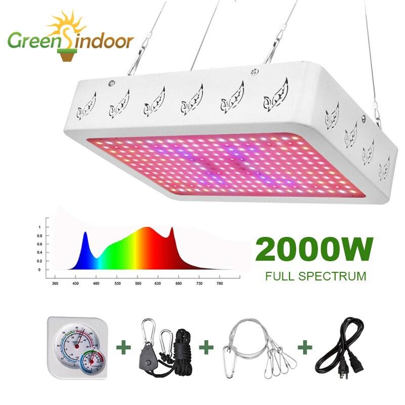 Tienda de Cultivo LED Luz de crecimiento 2000W 1000W lámpara de Fito de espectro completo para plantas lámparas de Interior para flores Fitolamp hierba con termómetro