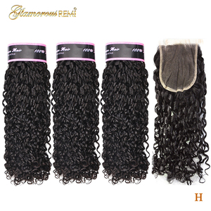 Funmi Double Drawn Remy Human Hair Extensions Brazilian 3 Bundles With Lace Closure Flexi Rod Curl Pixie Curl Weave High Ratio