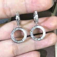 Office lady Original 925 sterling silver Dangle Earring Dimaond cz Jewelry Party Wedding Drop Earrings for Women Bridal Gift