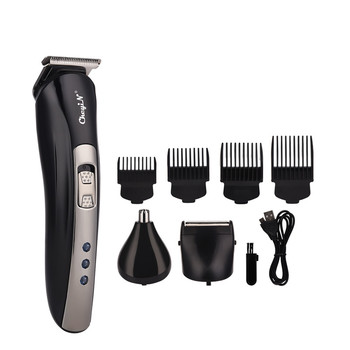 3 In 1 USB Rechargeable Electric Beard Trimmer Nose Ear Hair Trimmer Razor Shaver Clipper Haircut Shaving Machine +4 Limit Combs 1