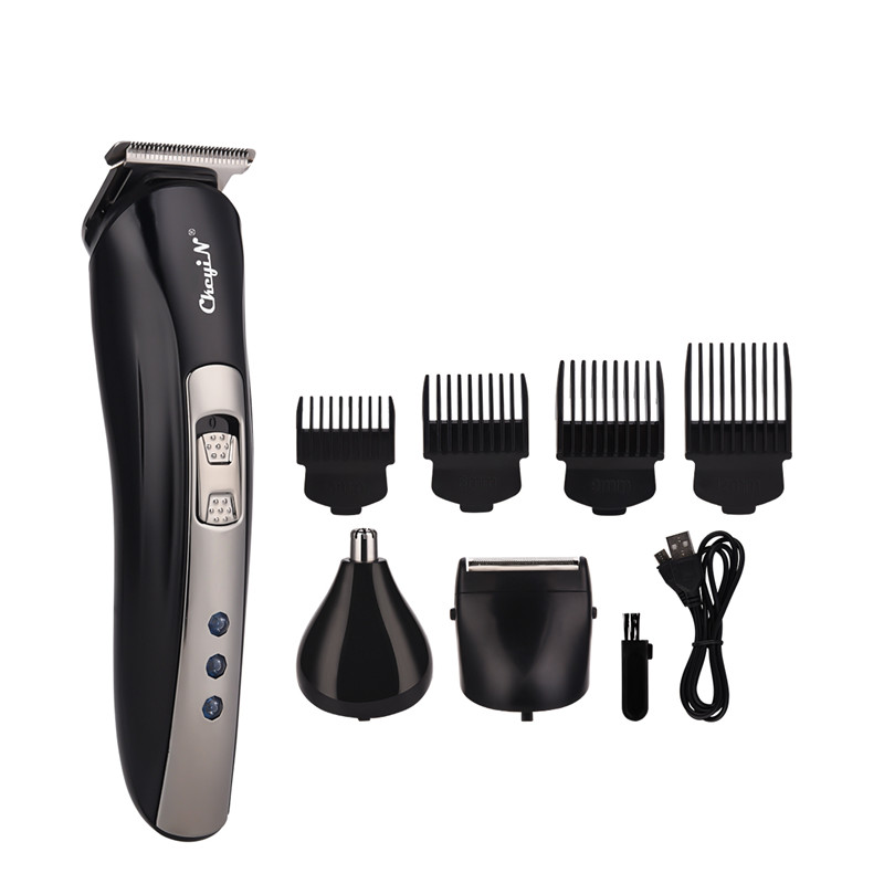 3 In 1 USB Rechargeable Electric Beard Trimmer Nose Ear Hair Trimmer Razor Shaver Clipper Haircut Shaving Machine +4 Limit Combs