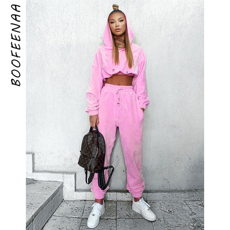 BOOFEENAA 2 Two Piece Set Pink Fleece Crop Top Hoodies Sweat Pants Women Matching Sets Activewear Winte Clothing Outfit C66-BC81