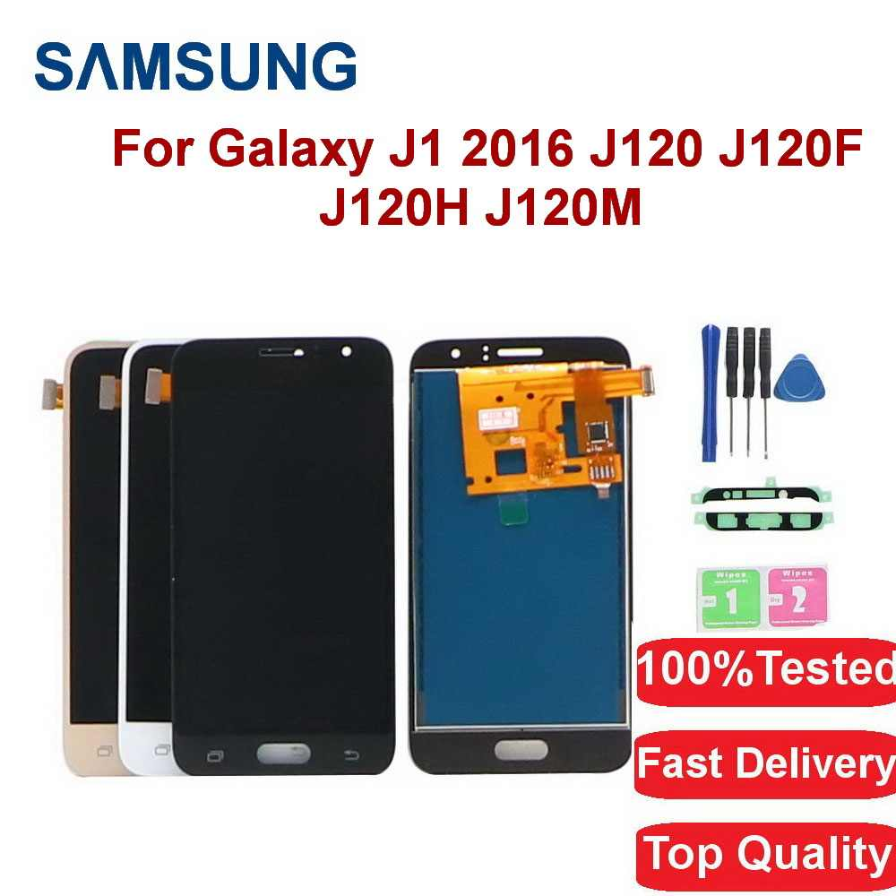 Per Samsung Galaxy J1 2016 J120 J120F J120H J120M Display LCD Touch Screen Digitizer Assembly di Ricambio Regolabile Brightenes