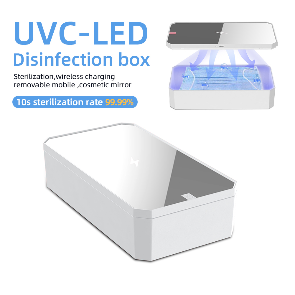 XD01 Multifunctional UV Phone Mask Sanitizer Wireless Charger Vanity Mirror UV LED Nail Tools Nail Tweezers Disinfector Box