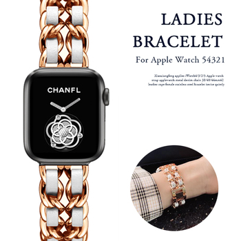 Band for Apple Watch 5 4 40mm 44mm Watchband Stainless Steel Chain With Leather Bracelet Strap  for iwatch Series 3 2 38mm 42mm stainless steel band for apple watch series 3 2 classic buckle with adapter link bracelet watchband strap for iwatch 42mm 38m