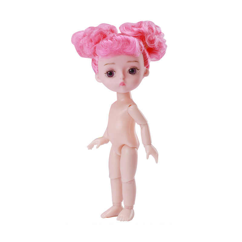 16cm 13 Movable Jointed Girls Dolls Toys Cute Naked Nude 1/12 Long Wigs Mini Baby Doll Toy For Girls Gift