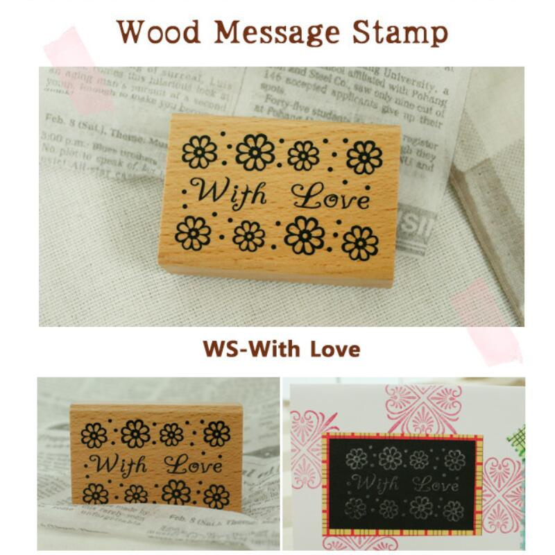 1pcs/lot Blessing Words Seal Stamp Vintage Beautiful Flower Decorative Birthday English Word For Gifts