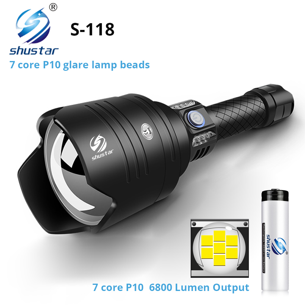 Super 7-Core P10 LED Flashlight With Oversized Convex Lens Glare Adventure Lighting With Power Bank Function By 18650 Battery