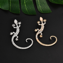 1 PC Fashion Retro Gold Lizards Ear Cuff Earrings Super Cute Crystal Clip On Earrings For Women Accessories